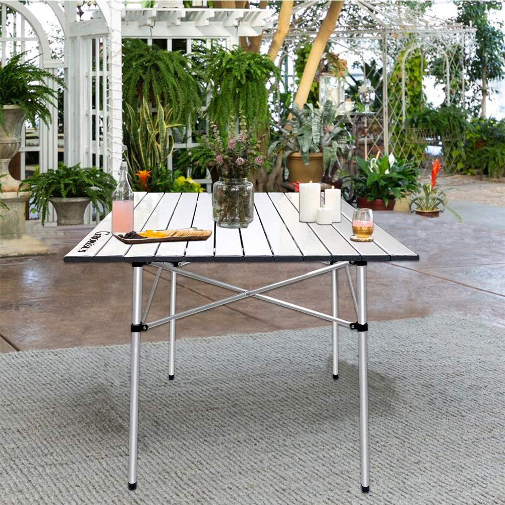 Growsun Folding Camping Table, Portable Aluminum Lightweight Square Camp Table w/Carry Bag for Outdoor and Indoor: Kitchen & Dining