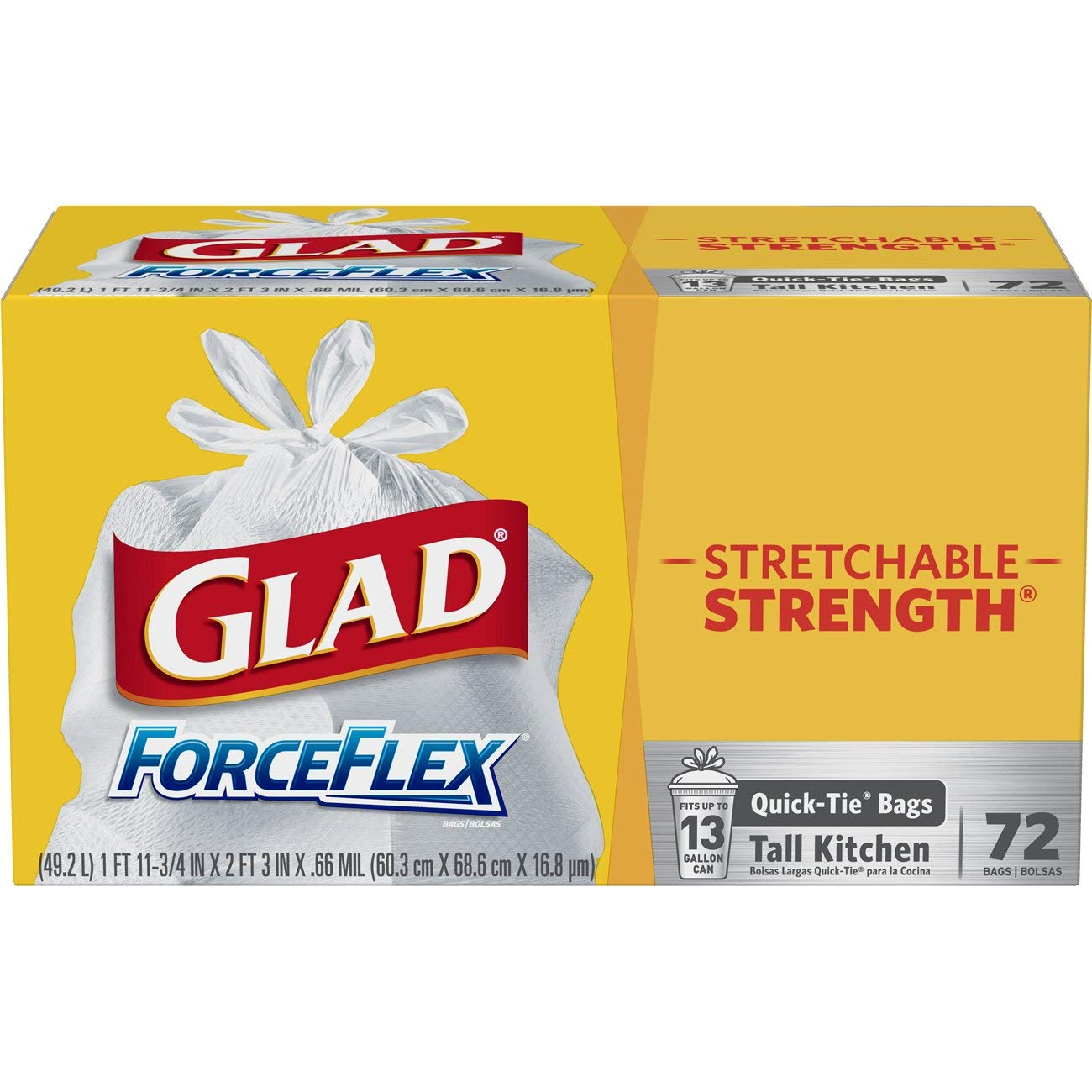 Glad Tall Kitchen Quick-Tie Trash Bags – ForceFlex 13 Gallon White Trash Bag, Unscented - 72 Count