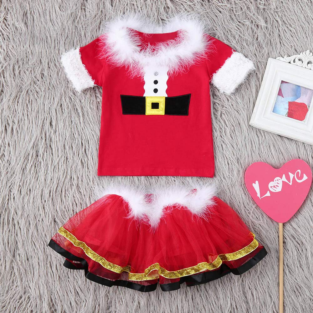 Baby Girls Christmas Skirt Set Xmas Fluffy Tops Tutu Skirt Clothing Set