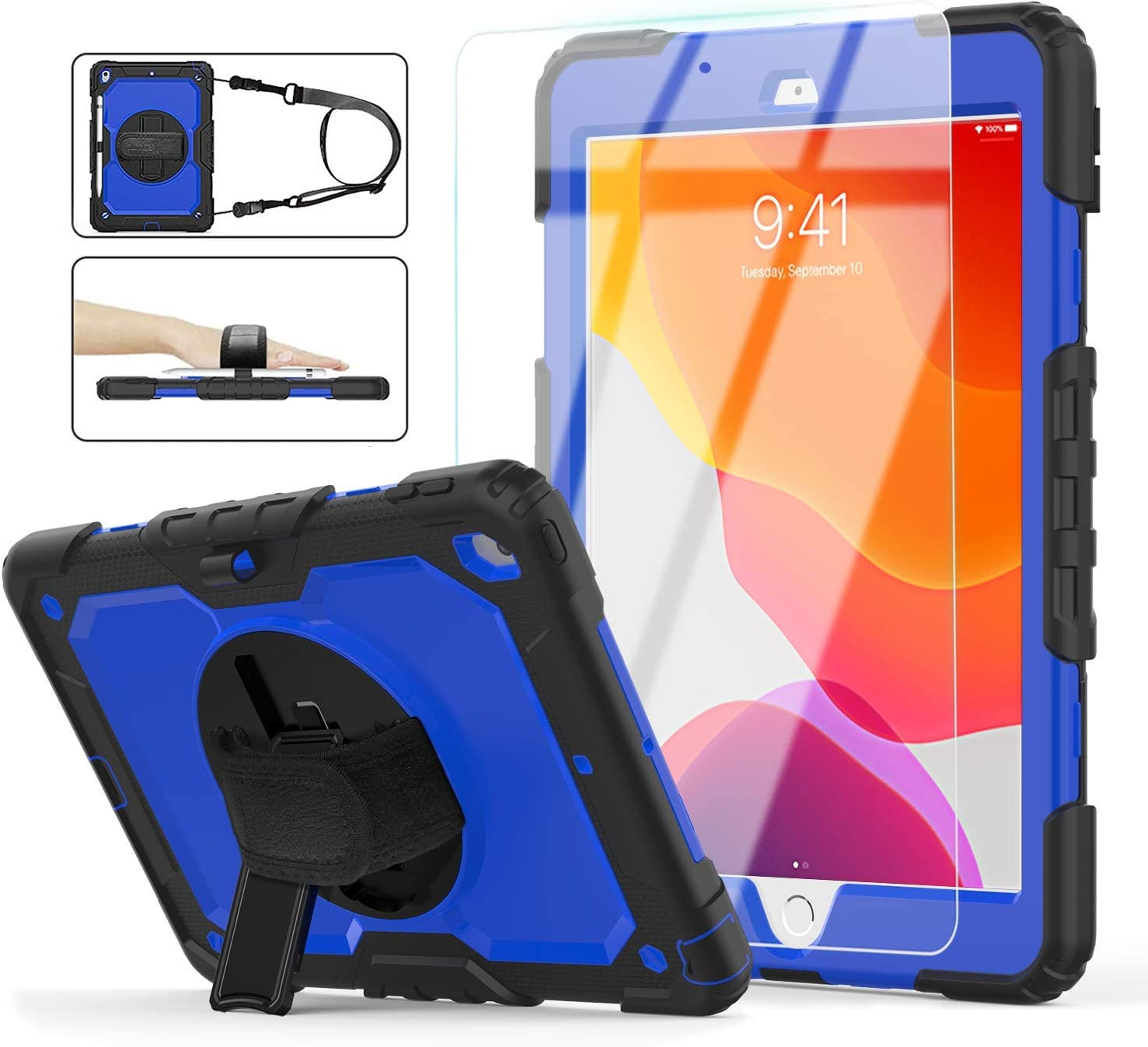 iPad 8th/7th Generation Case, iPad 10.2 Case 2020/2019, [360°Rotatable Hand Strap & Kickstand] ambison Full Body Protective Case with Tempered Glass Screen Protector, Pencil Holder (Blue & Black)