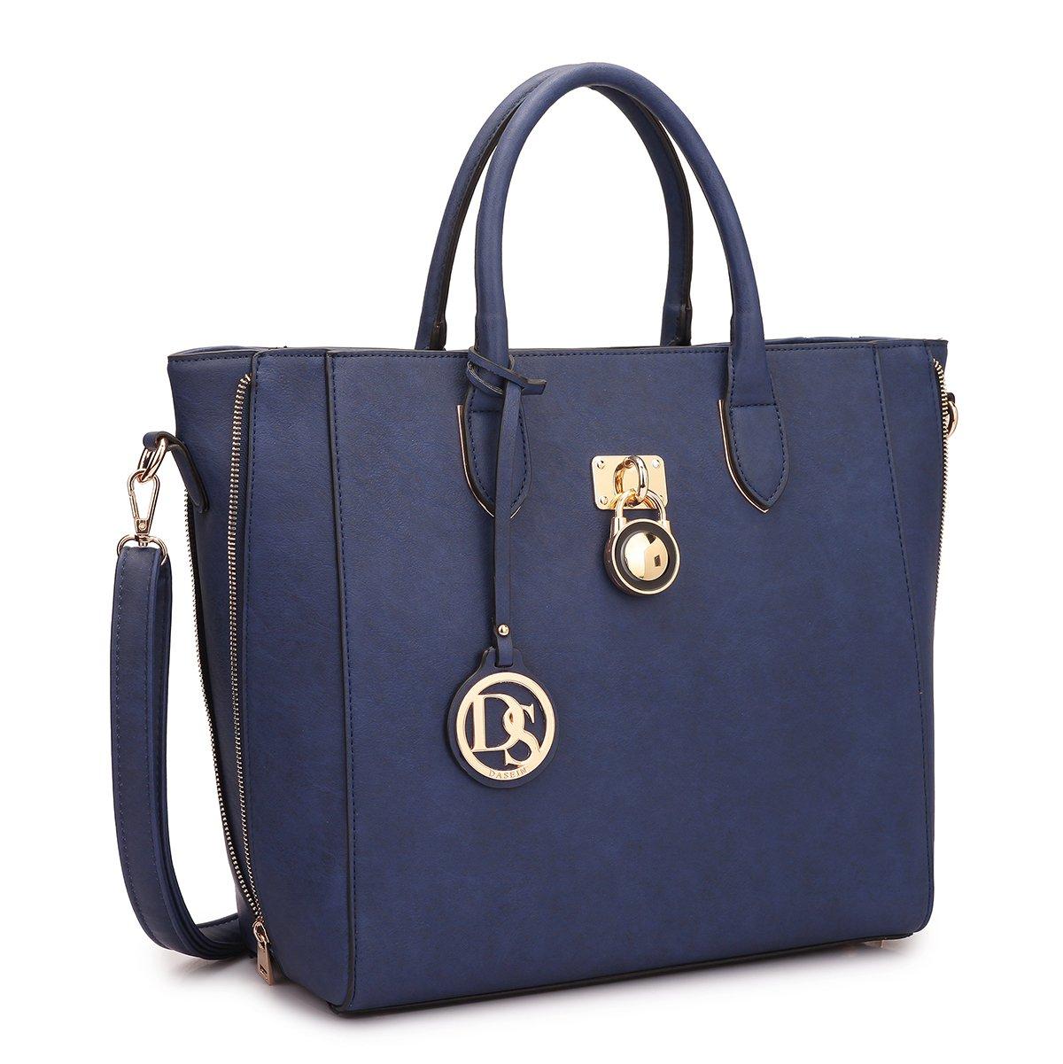 Dasein Women's Top Handle Structured Padlock Tote Bag Satchel Handbag Shoulder Bag With Shoulder Strap (Navy Blue)
