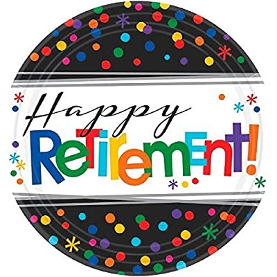 """Happy Retirement"" Party Plates, 7"", 8 Ct.: Kitchen & Dining"