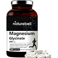 NatureBell Maximum Strength Magnesium Glycinate 500mg, 180 Capsules, Supports Muscle, Bone, Joint, Heart Health, Enzyme…