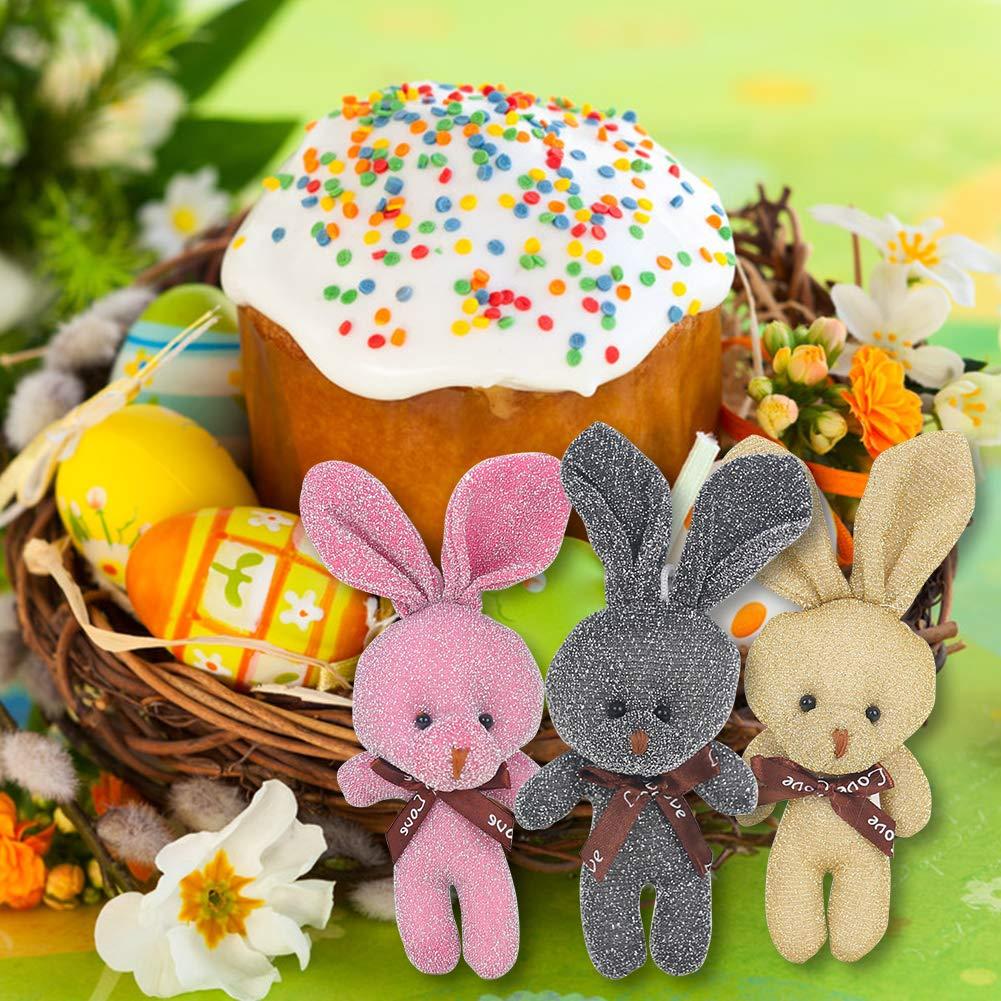 3 otters Easter Soft Plush Bunnies, 6PCS Easter Eggs Filler or Easter Baskets Filler, 3 Colors, 4.5Inch