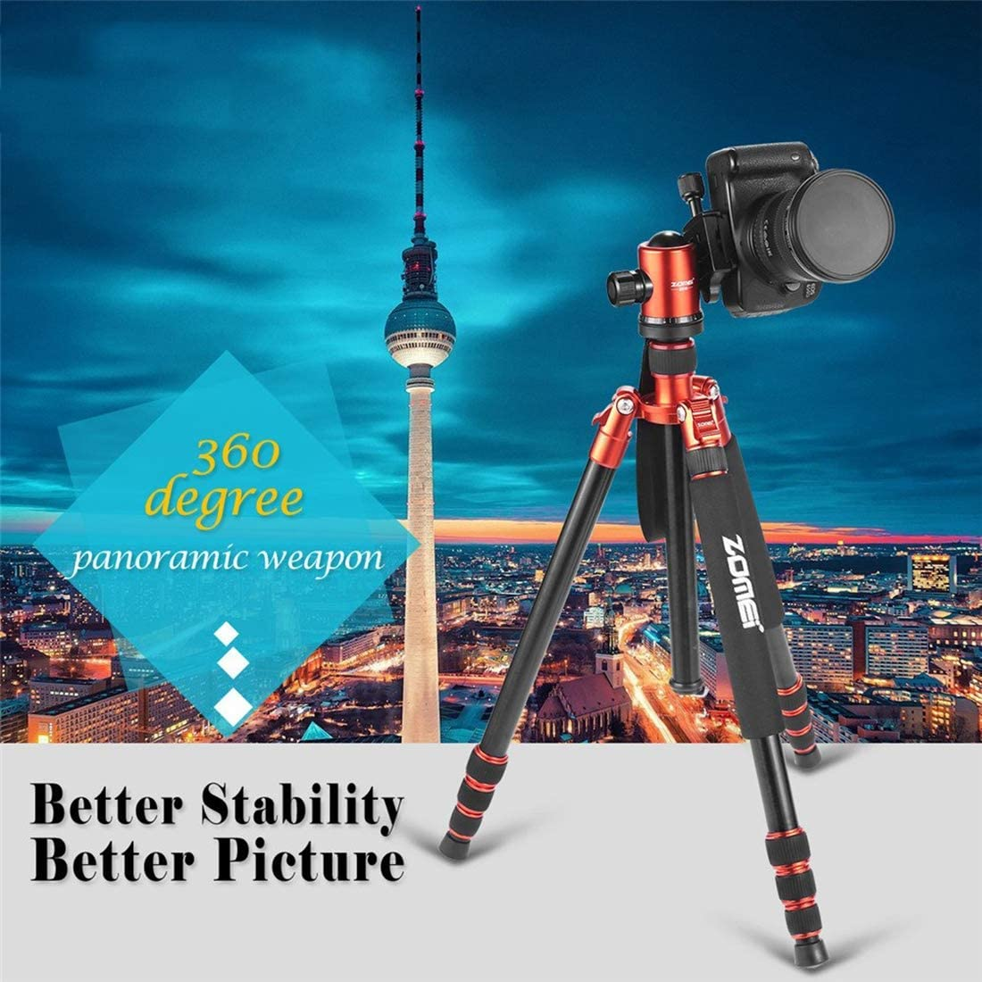 Compact Aluminum Tripod with 360/° Ball Head and 16kgs Load for Travel and Work,Silver 64 Tripod Camera Tripod for DSLR