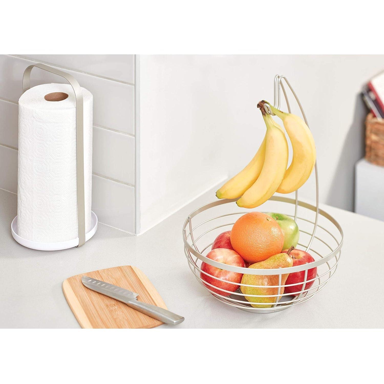 iDesign Austin corbeille de fruits avec support pour bananes panier /à fruits rond en m/étal argent/é mat