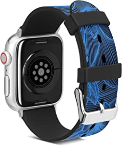 FITWORTH Muses Series, High-End Smartwatch Band Compatible with Apple Watch, Soft & Light, Fine Art Printing, Delicate Floral Pattern Design Suits for Girl or Lady (Blue, 38/40)