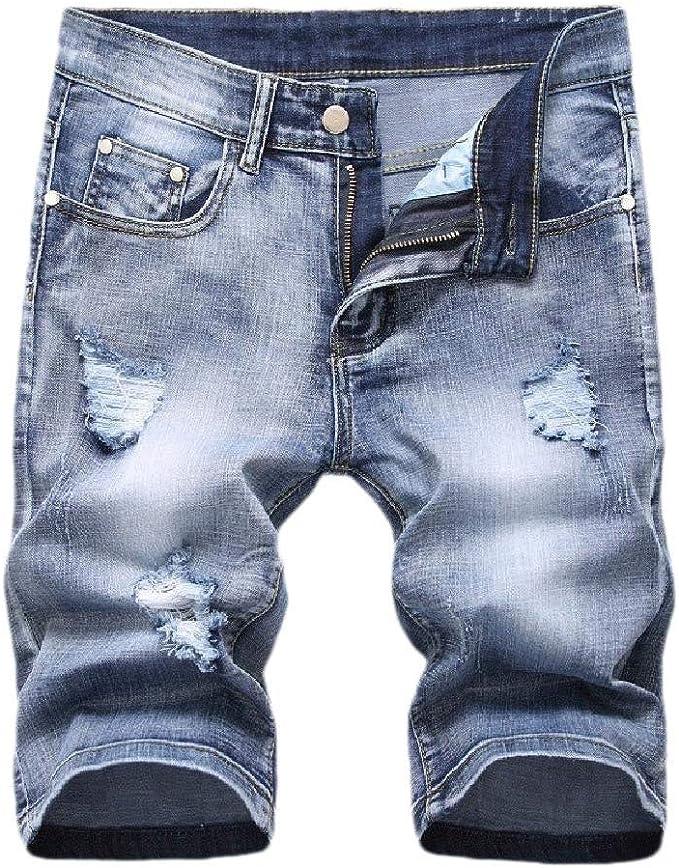 EnergyWD ポケットピュアカラーストレッチミッドウエストストレートジャンショートパンツを持つ男性の穴