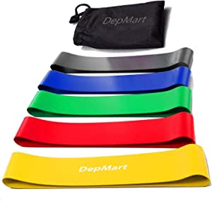 DepMart Resistance Bands - Set of 5 Rubber Latex Exercise Bands, Resistance Loops Workout Fitness Band for Physical Therapy, Legs, Butt Booty Bands, Home Fitness, Glutes, Yoga, Stretching with Carry Bag