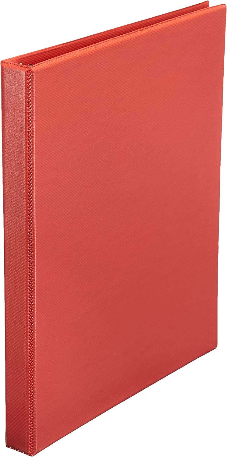 AmazonBasics Durable 1/2-Inch Round Ring Binder, Red, View, 12-Pack