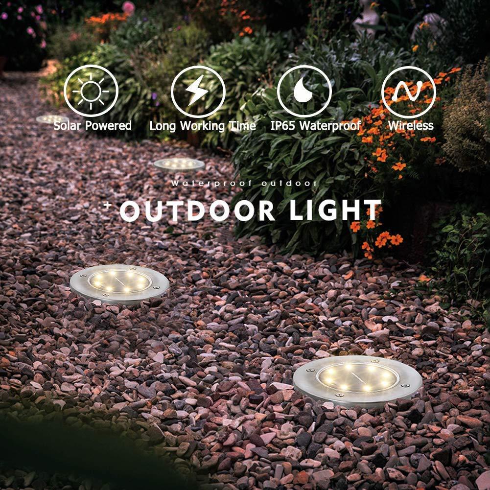 4 Pack Bodenleuchten Solarleuchte außen, Edelstahl Wasserdicht led beleuchtung Garten Außenleuchte, LED Solar Path Lights Garten Landschaft Beleuchtung für Pathway Yard Auffahrt Rasen