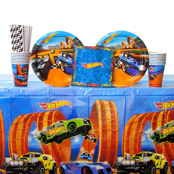 Hot Wheels Wild Racer Party Supplies Pack for 16 Guests | Straws, 16 Dinner Plates, 16 Luncheon Napkins, 16 Cups, and Table Cover | Great Children's Birthday Party Supplies Set For Your Wild Racer!
