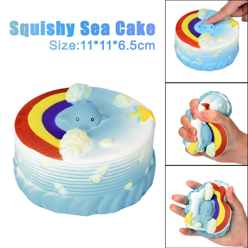 Prise Druck Dekompression Spielzeug Langsam Rebound PU Extrusion Malloom 11cm Meer Kuchen Creme Squeeze Squishy