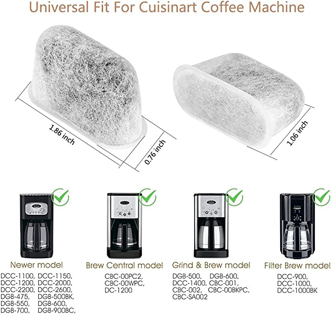 Replacement Charcoal Water Filter For Cuisinart Brew Central Coffee Machine 2PK