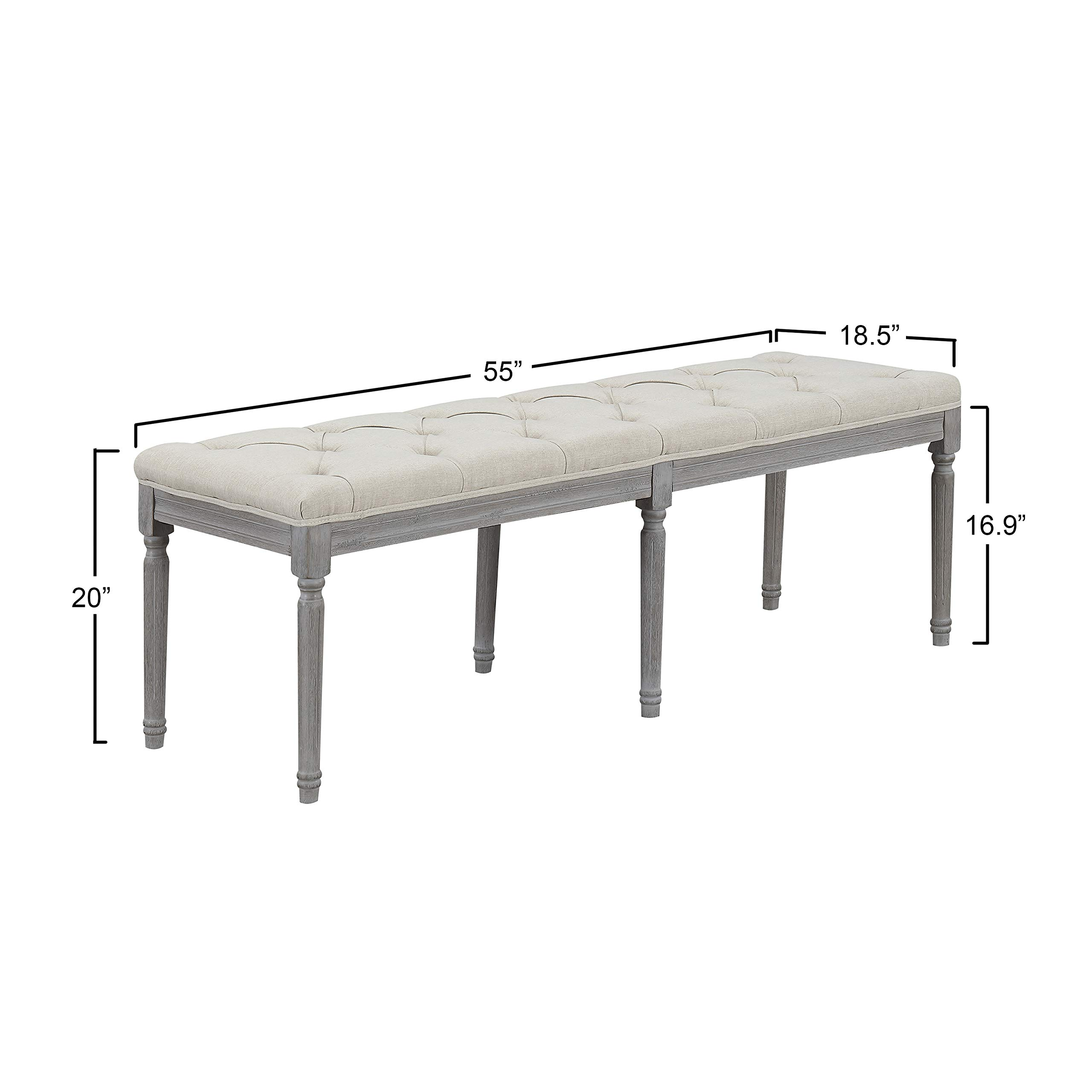 Jack Button Tufted Light Beige Upholstered Bench with Weathered Gray Legs by CHL CHRISTIES HOME LIVING (Image #2)
