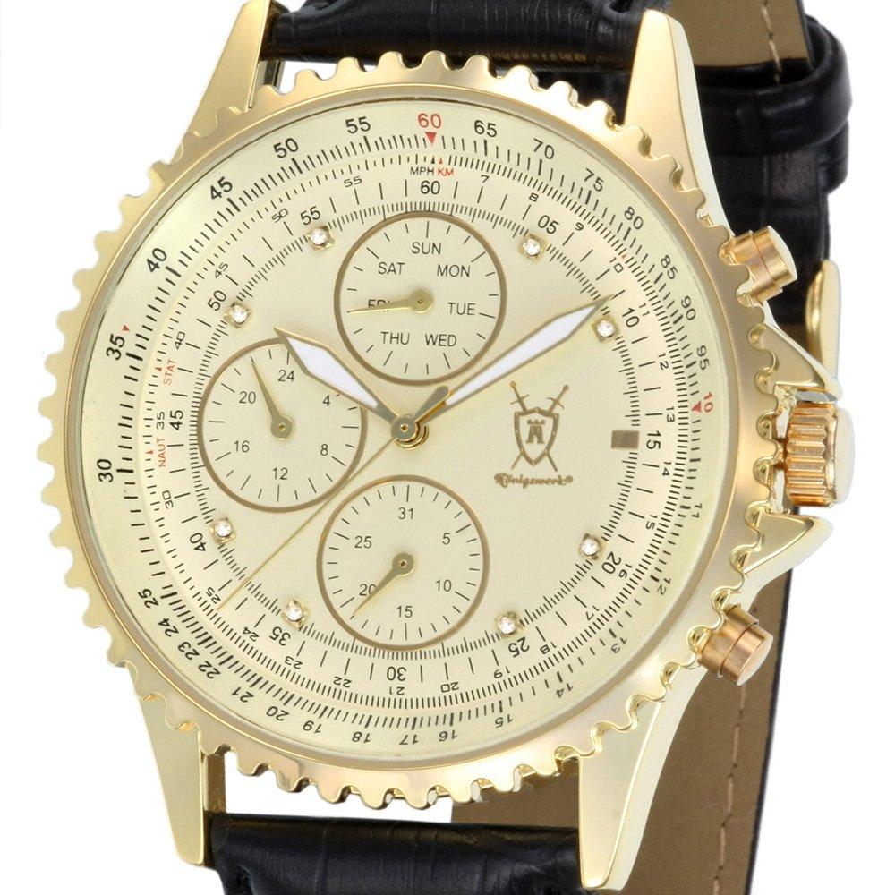 Amazon.com: Konigswerk Mens Gold Tone Multifunction Watch Black Leather Strap Crystal Markers SQ201422G: Konigswerk: Watches