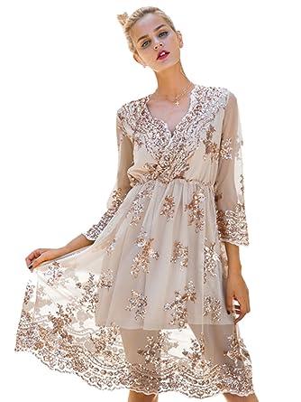 c112bcca1357 Simplee Apparel Damen Knielangkleid Elegant Langarm V-Ausschnitt Pailletten  Festlich Kleider Partykleid Abendkleid