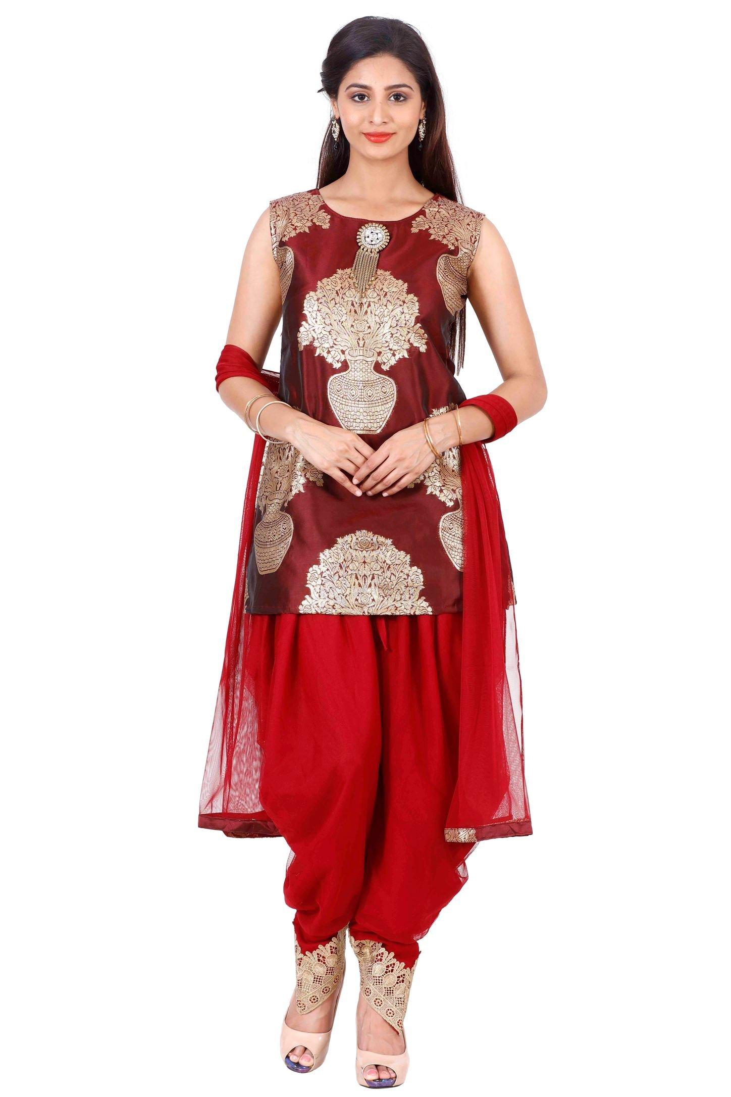 Salwar Suit for Women (Manmandir CottonSilk Dhoti Patiala Set Readymade)