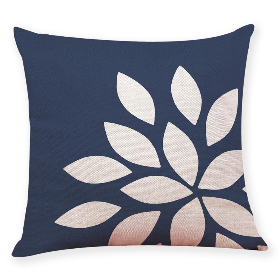 Wanshop 45 * 45CM Cotton Linen Cushion Cover Home Decor, Cushion Cover Dark Blue Style Throw Pillowcase Pillow Covers For Car (A)