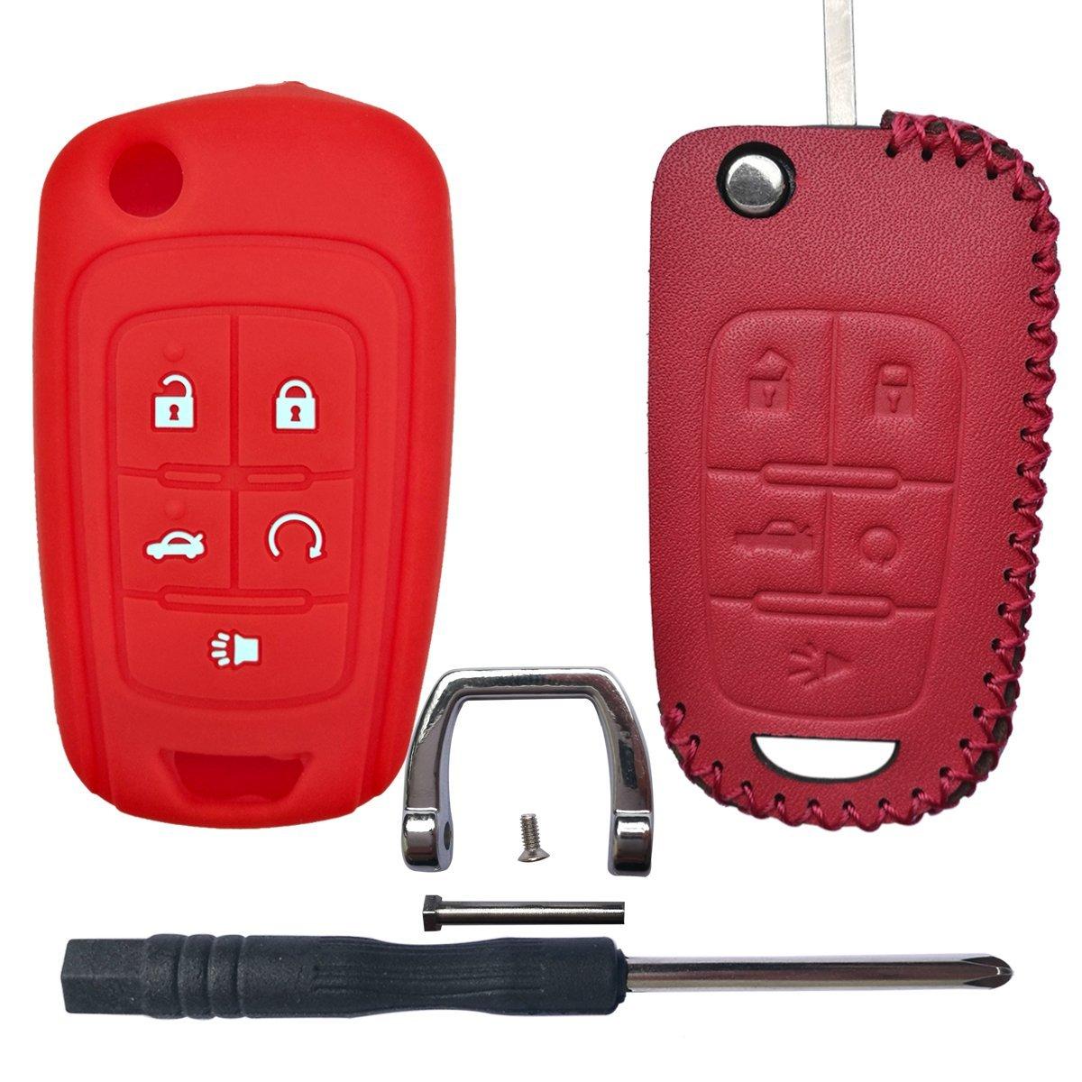 2Pcs Coolbestda Silicone Flip Key Fob Remote Cover Case Skin Keyless Jacket Holder Protector for Chevrolet Equinox Camaro Cruze Malibu Sonic Volt Park