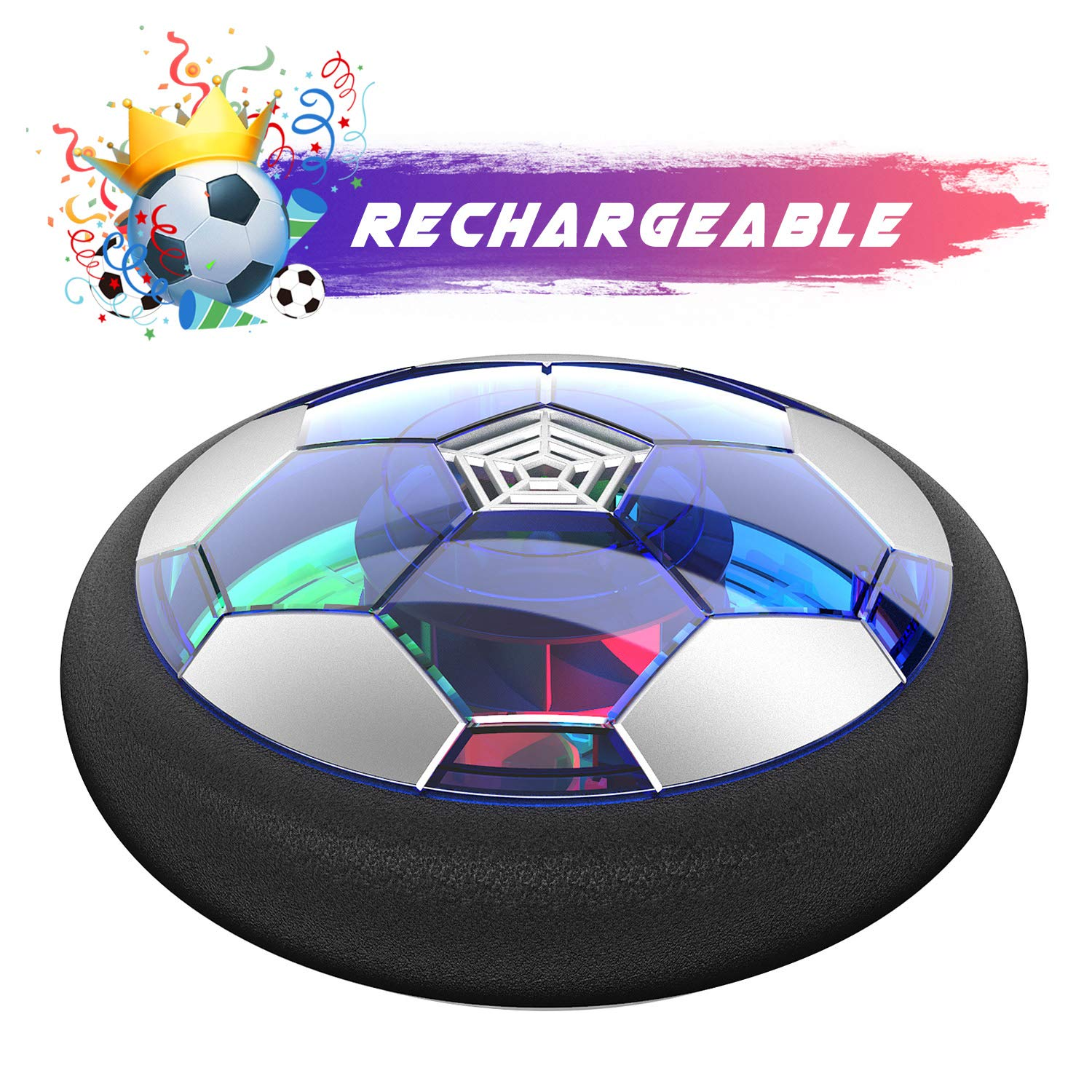 WisToyz Kids Toys Hover Soccer Ball Rechargeable Air Soccer, Soccer Ball Indoor Floating Soccer with LED Light and Foam Bumper, Perfect Time Killer for Boys, Girls, Toddler (No AA Batteries Needed) by WisToyz