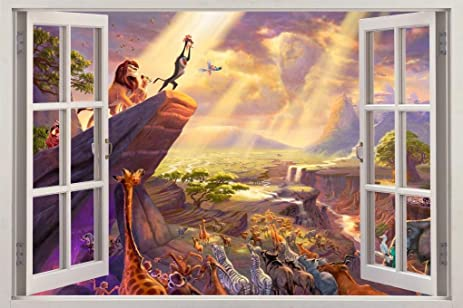 Amazon.com: LION KING Simba 3D Window View Decal Graphic WALL ...