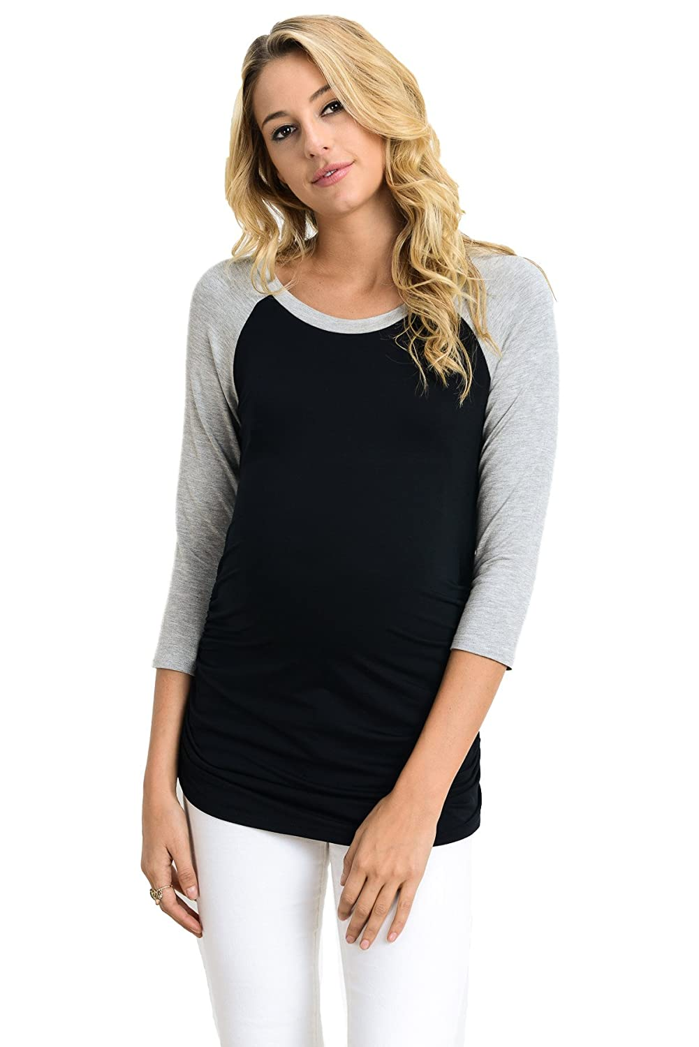 Black H Grey LaClef Women's Maternity TShirts Top with Baseball Raglan
