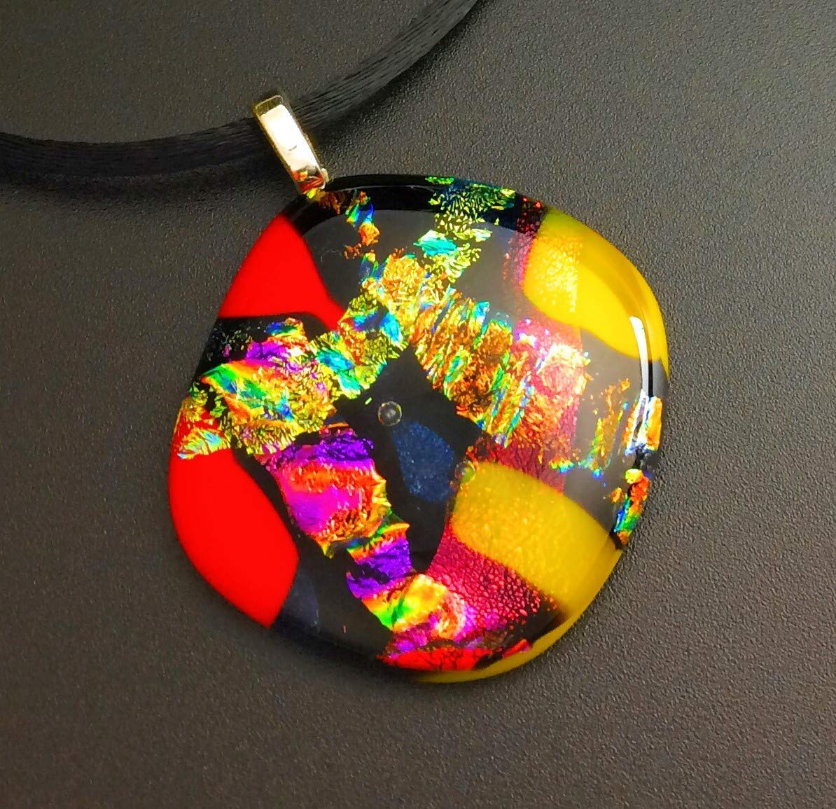 Sparkly Glass Jewelry Fused Glass Dichroic art Glass Pendants Dichroic Glass Glass Jewelry Dichroic Glass Pendants Handmade Glass
