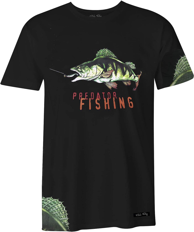 100/% Baumwolle T-Shirts Fladen Fishing mit aufregendem dynamischem Sitzstangen-Design die Raubfische lieben Greedy Perch ideal f/ür diejenigen