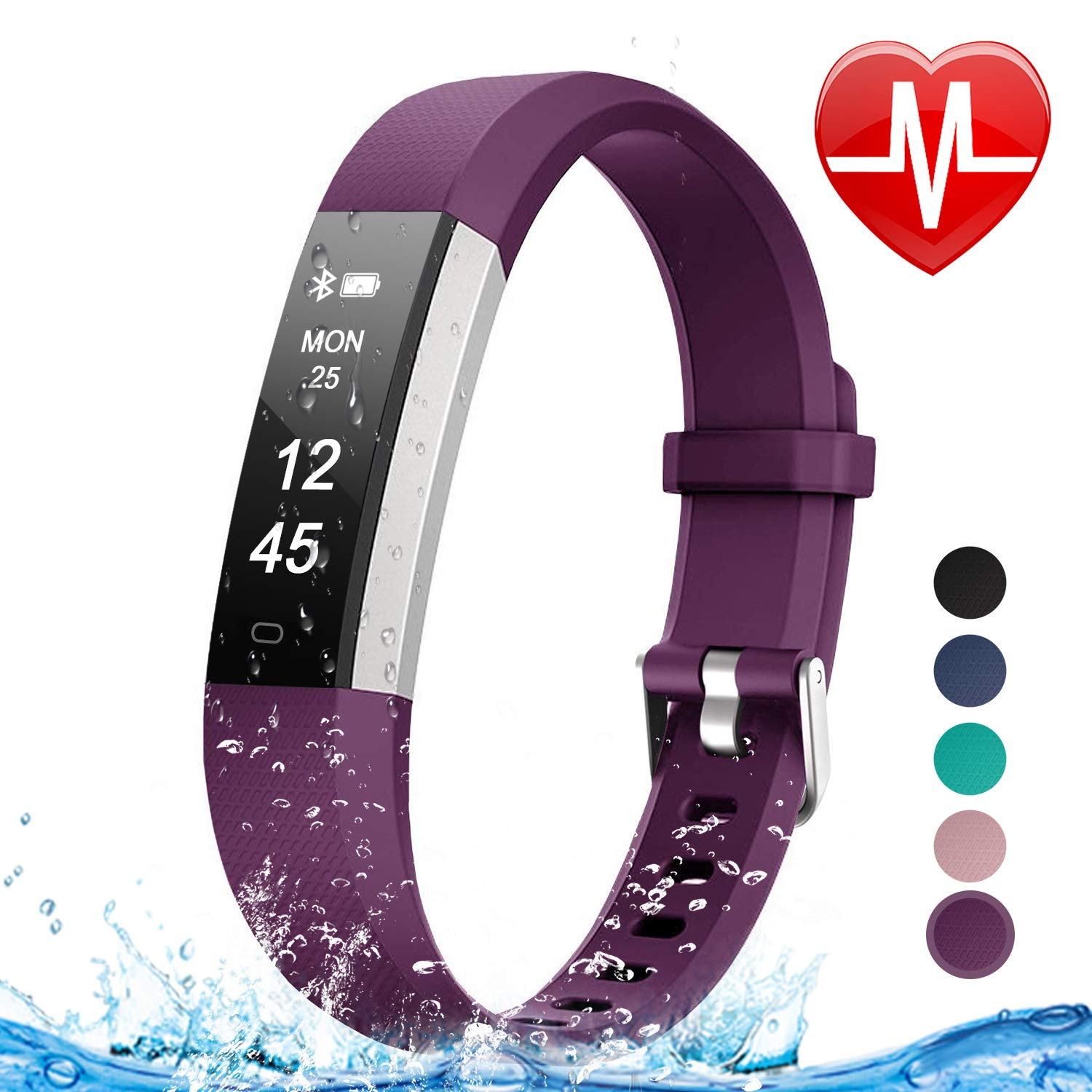 Letsfit Fitness Tracker HR, Heart Rate Monitor Watch, IP67 Waterproof Pedometer Watch, Sleep Monitor, Step Counter Tracker, Slim Activity Tracker for Women Men Kids