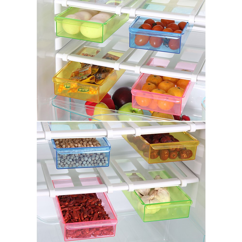 blu BOZEVON 2 pezzi Frigo bagagli cassetto congelatore di stoccaggio ripiani del frigorifero organizzatore del risparmiatore dello spazio ripiano scorrevole 2 pezzi