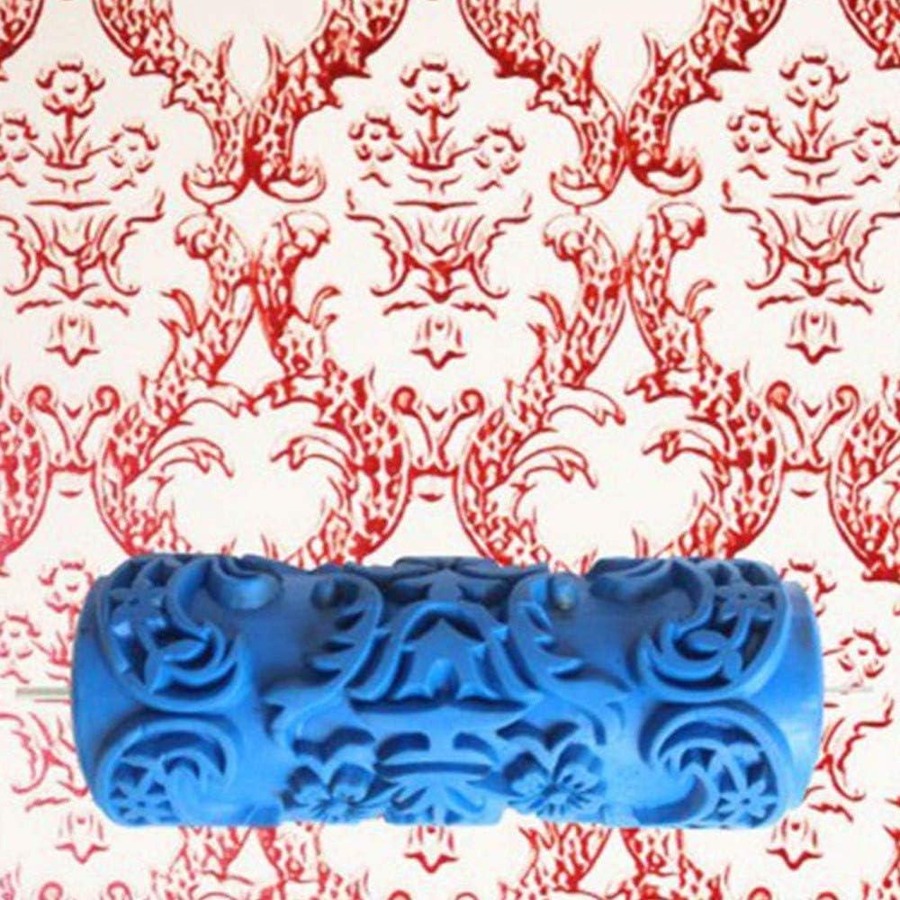 Nrpfell Patr/ón de Pincel Decorativo Textura Rodillo con Manejar de Pl/ástico en Relieve con Pintura Monocrom/ática M/áquina para Decoraci/ón de la Pared