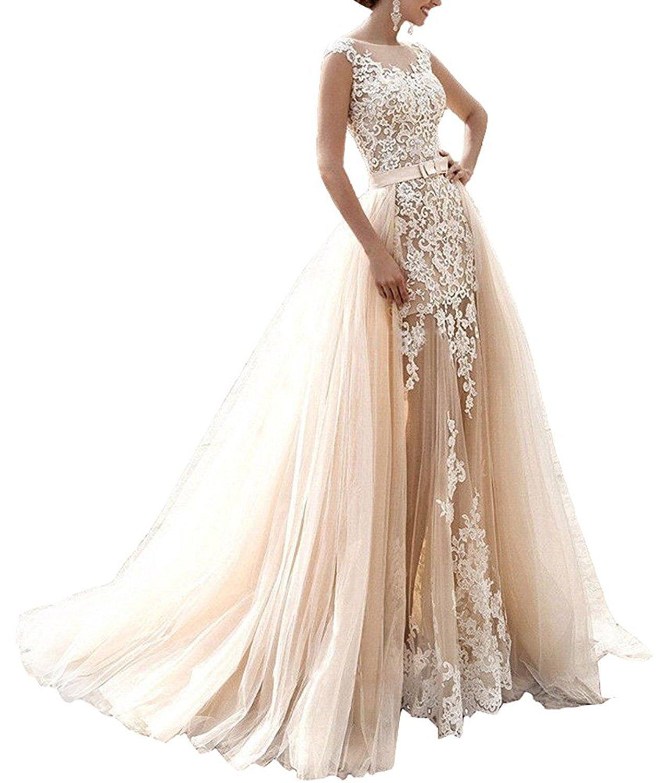 Mingxuerong 2018 Hochzeitskleider A Linie mit Lange Ärmel für Damen Spitze  Von der Schulter Brautkleider mit Zug