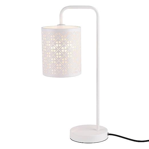 lux.pro] Lámpara de mesa moderna blanca de metal - diseño elegante ...