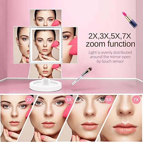 Makeup Mirror Vanity Mirror with Lights,Four-fold LED 7X 5X 3X 2X Magnification, Touch Control Design Adjustable, 360 Degree Rotating Dual Power Portable Christmas Gift White