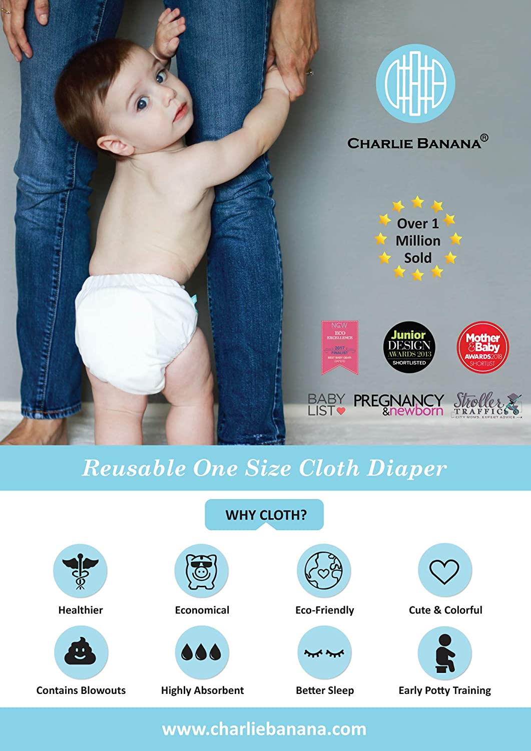 X-Small Charlie Banana 2-in-1 6-Piece Reusable Diapers Butterfly