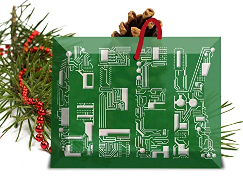 Geek Christmas.Amazon Com Geek Circuit Font Glass Christmas Ornament Handmade