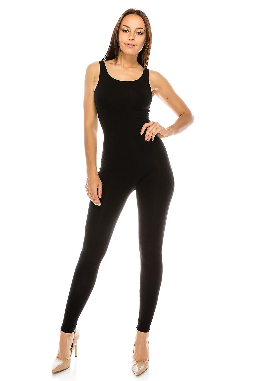 f054a23f8d92 Top1  CNC STYLE Women Active Plus n Regular Size Cotton Stretch Scoop Neck  Sleeveless Tank Yoga One Piece Jumpsuit Unitard Bodysuit