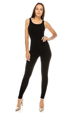 a742f3ebaab8 Amazon.com  CNC STYLE Women Active Plus n Regular Size Cotton Stretch Scoop  Neck Sleeveless Tank Yoga One Piece Jumpsuit Unitard Bodysuit  Clothing