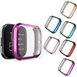 Compatible with Fitbit Versa 2 Case, NAHAI 6 Packs Ultra Rugged Cover Plated Case Scratch-Resist All Around Screen Protector