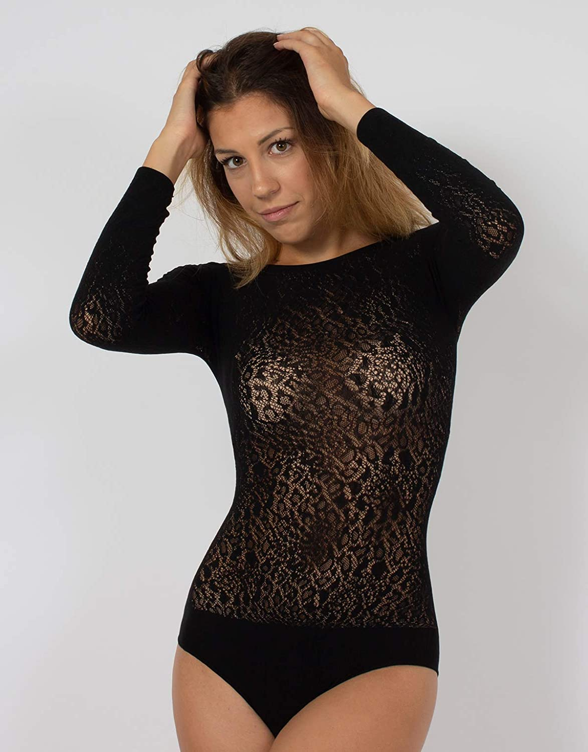 XS CALZITALY Spitzen Body Langarm mit Leopard Animal Muster S//M Schwarz Made in Italy