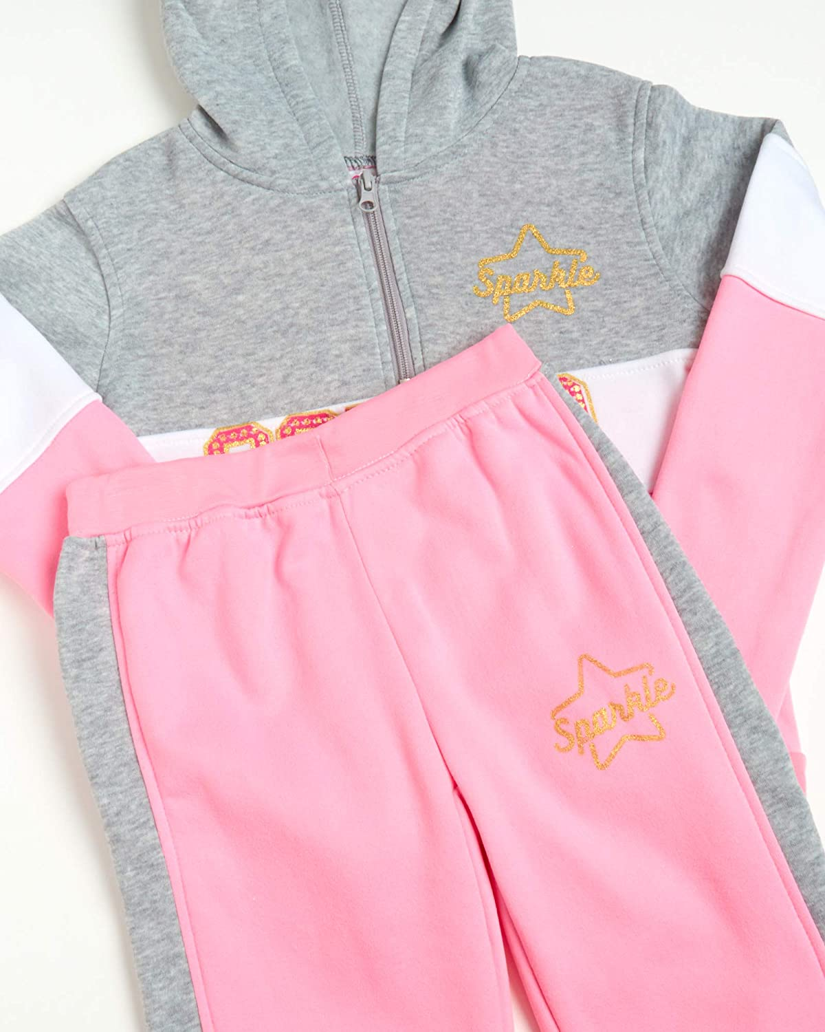 Real Love Girls 2-Piece Athletic Fleece Jogger Set with Sequined Hoodie