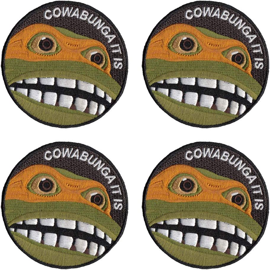 4 PCS Teenage Mutant Ninja Turtles Embroidered Iron On for T-Shirt Jeans Bags, 3Inch
