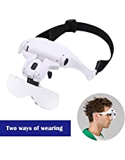 Headband Magnifier LED Illuminated Hands Free Head Magnifying Glasses 5 Replaceable Lenses1.0X/1.5X/2.0X/2.5X/3.5X for Reading, Jewelry Loupe, Electronic Repair, etc