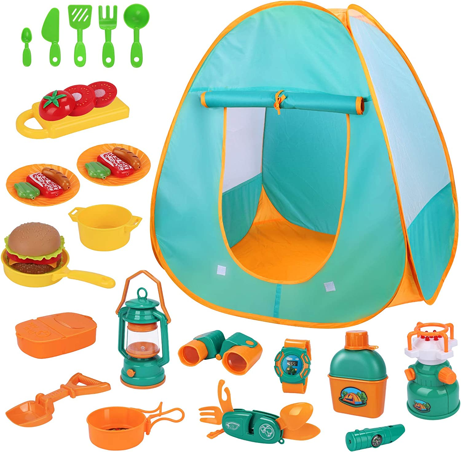 iYoYo Kids Camping Play Tent Set 30pcs Kids Camping Gear Tools with Play Kitchen Food Set, Indoor Outdoor Pretend Play Toys for Kids Toddler Boys Girls Birthday