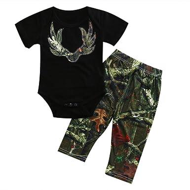 310018fd98e6 Amazon.com  ITFABS 2pcs Baby Boy Girl Pants Sets Black Short Sleeve ...
