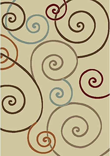 Concord Global Trading Arthur Scroll Ivory Rug Rug Size: 6'7″ x 9'3″