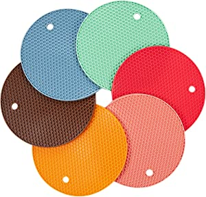 Silicone Insulation pad Pot Mat Trivet Pad Heat Resistant Anti-Slip for Table Oven Mitts (6 pack)