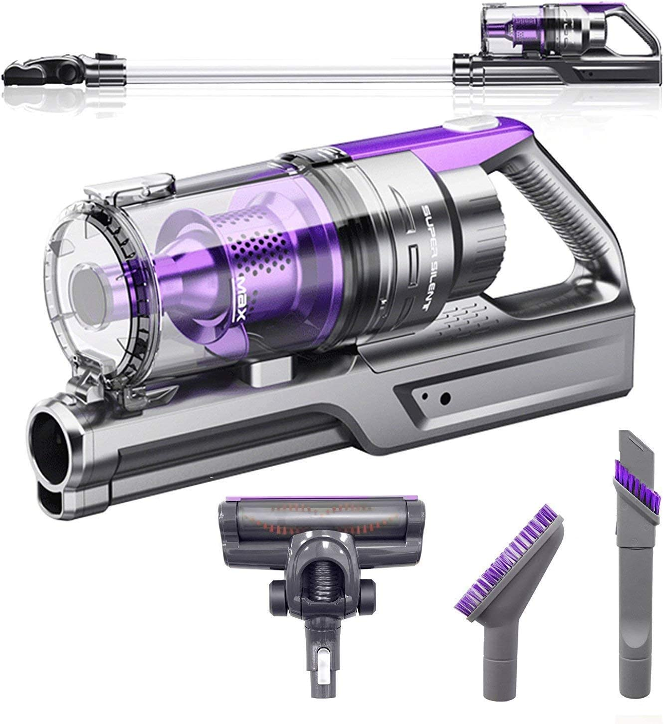 VViViD Rev Turbo Cordless Rechargeable Dual-Mode Vacuum Cleaner for w/Multiple Brush Attachments