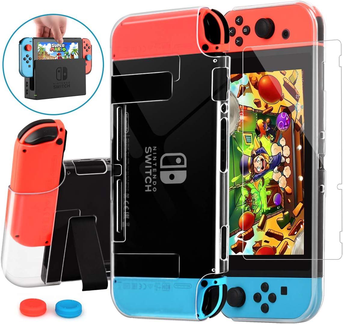 Carcasa Nintendo Switch, HEYSTOP Funda Nintendo Switch con Protector de Pantalla para Nintendo Switch Console y Joy Cons con 6 Agarres para el Pulgar: Amazon.es: Videojuegos
